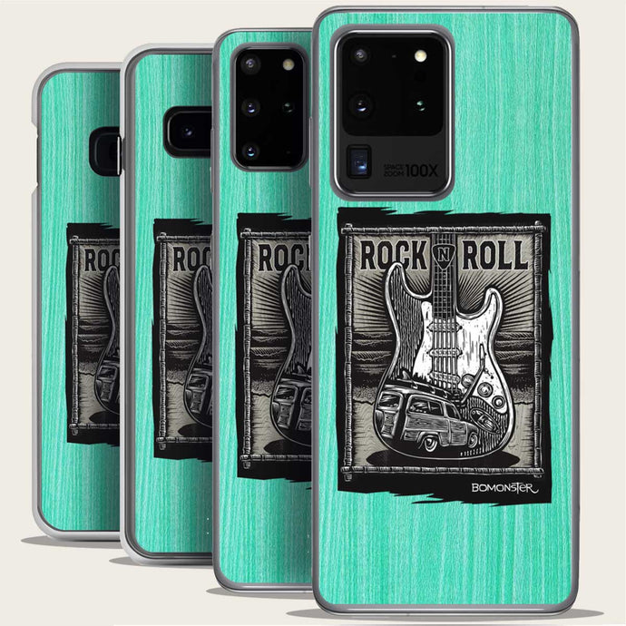 startocaster guitar and surf woody samsung phone case by bomonster