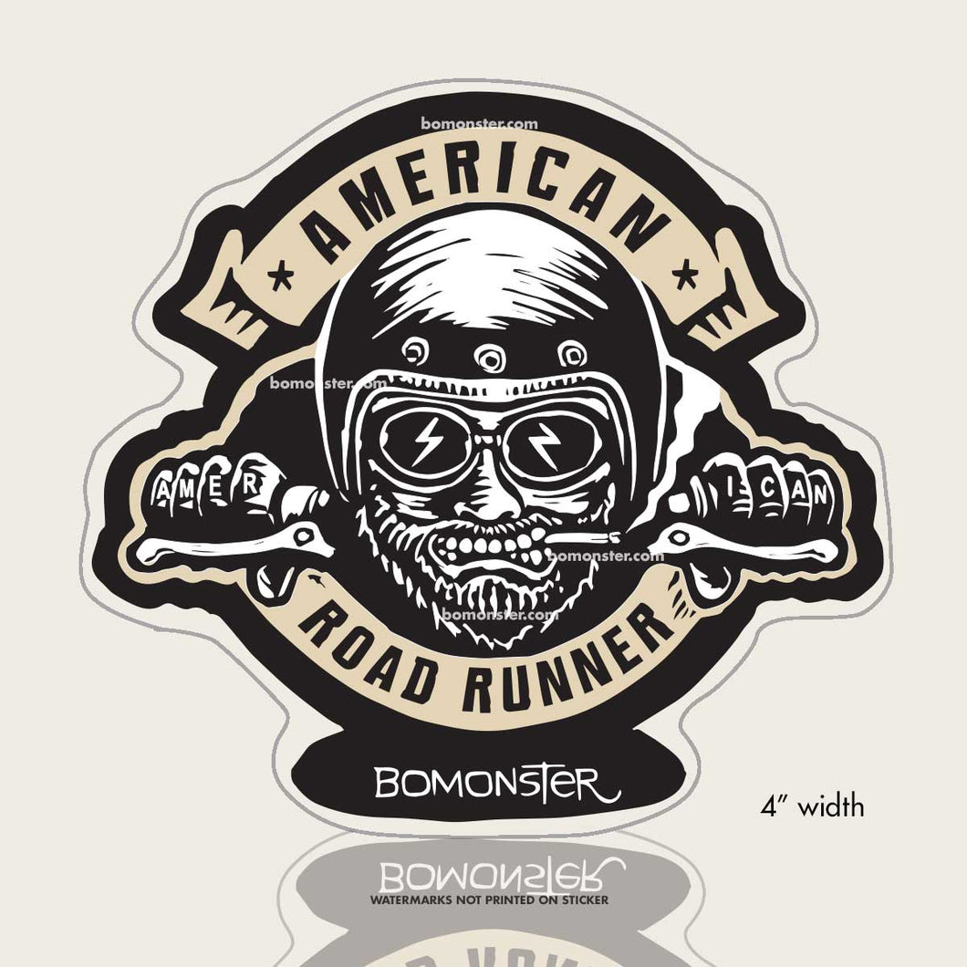 american roadrunner motorcycle rider sticker