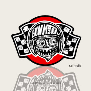 bomonster monster face on checkered flags sticker