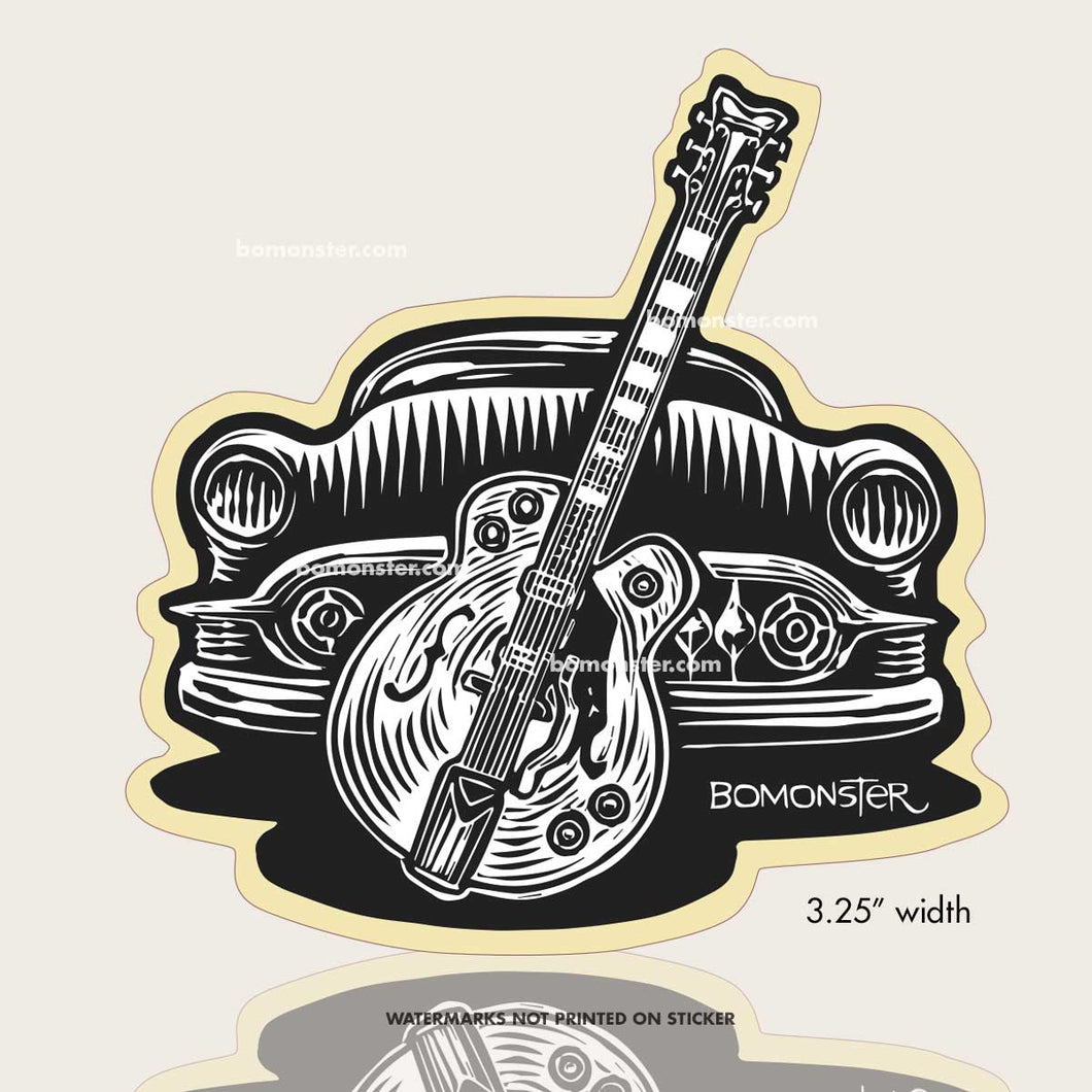 chevy custom with gretsch guitar sticker by bomonster