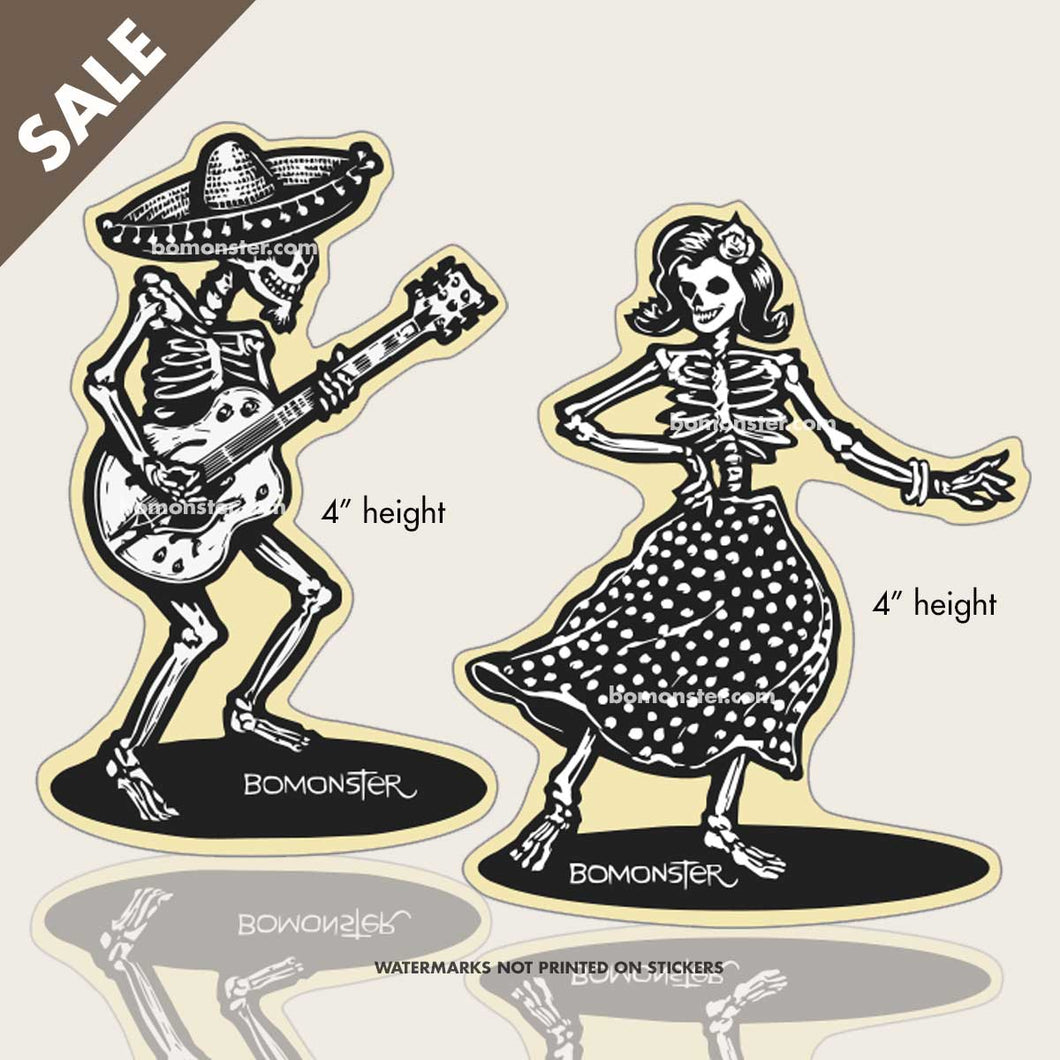 day of the dead stickers with dancing skeletons by BOMONSTER