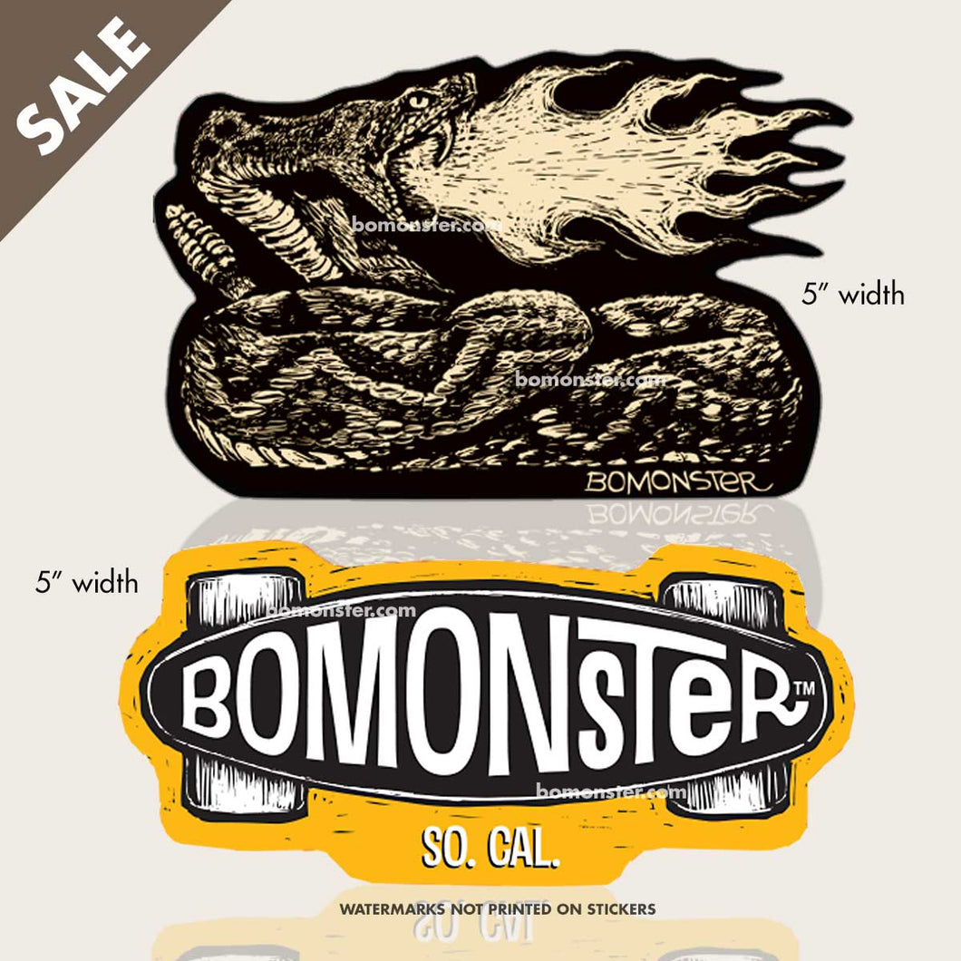 bomonster rattlesnake sticker and skateboard sticker