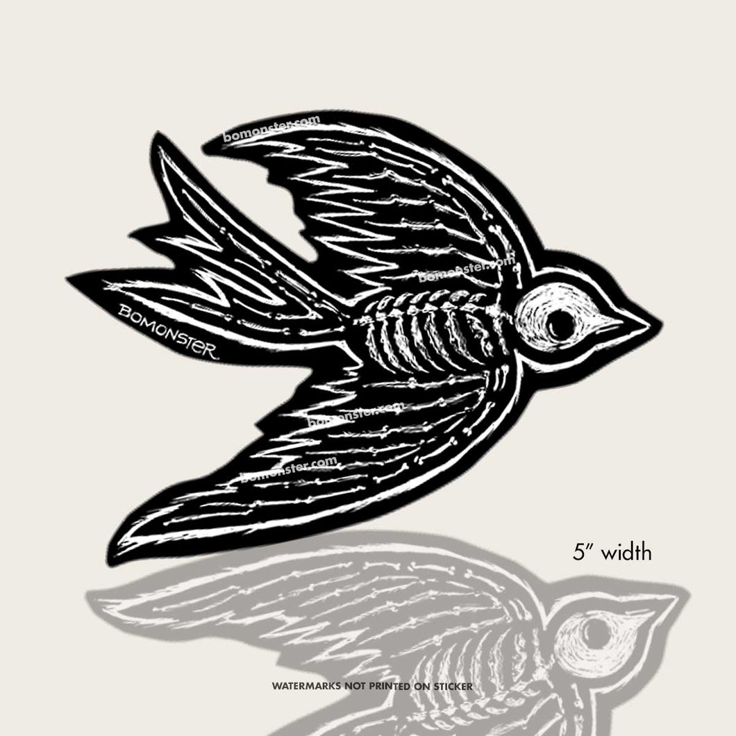 flying sparrow skeleton sticker by bomonster