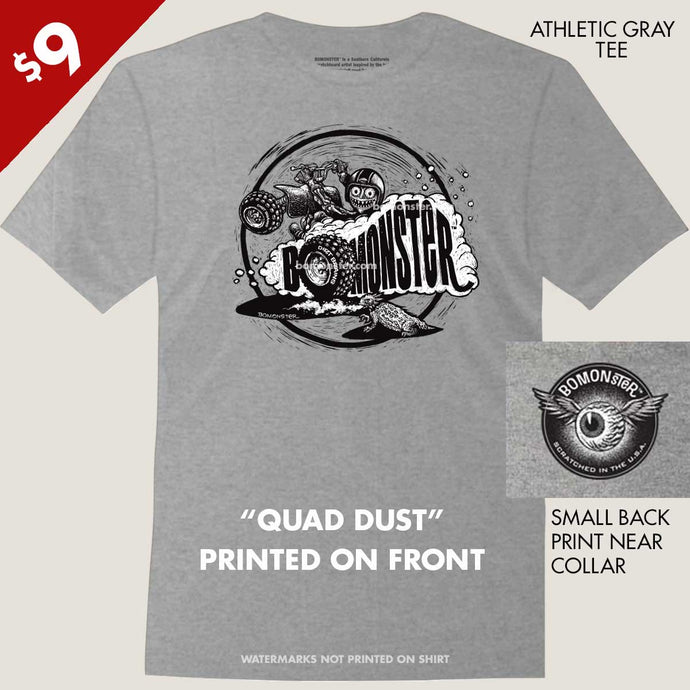 monster ATV quad rider making dust tee by bomonster