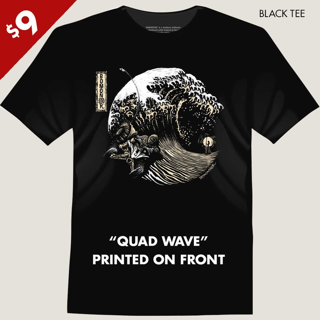 quad racer on sand in shape of great wave tee by bomonster