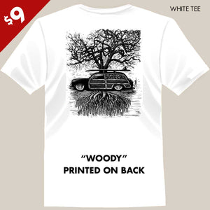 surf woody and tree tee by bomonster
