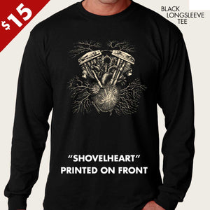 harley shovelhead on human heart long sleeve by bomonster