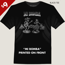 Load image into Gallery viewer, skeleton singer and  girl at lowrider car show tee by bomonster