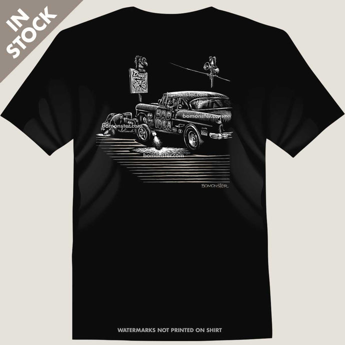 1955 chevy gasser against a willys gasser tee by bomonster