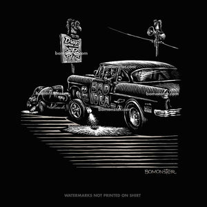 men's tee of a '55 chevy gasser going against a willys gasser