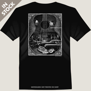 men's tee of guitar player playing for girl in window next to custom chevy
