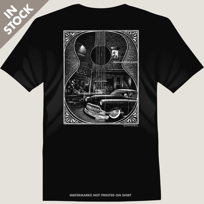 custom chevy and guitar player in street scene tee by bomonster