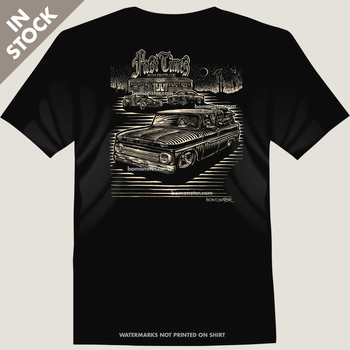 men's tee with classic c-10 chevy truck in front of roadside diner