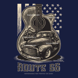 men's t-shirt with old gmc truck and harley in guitar shape and flag