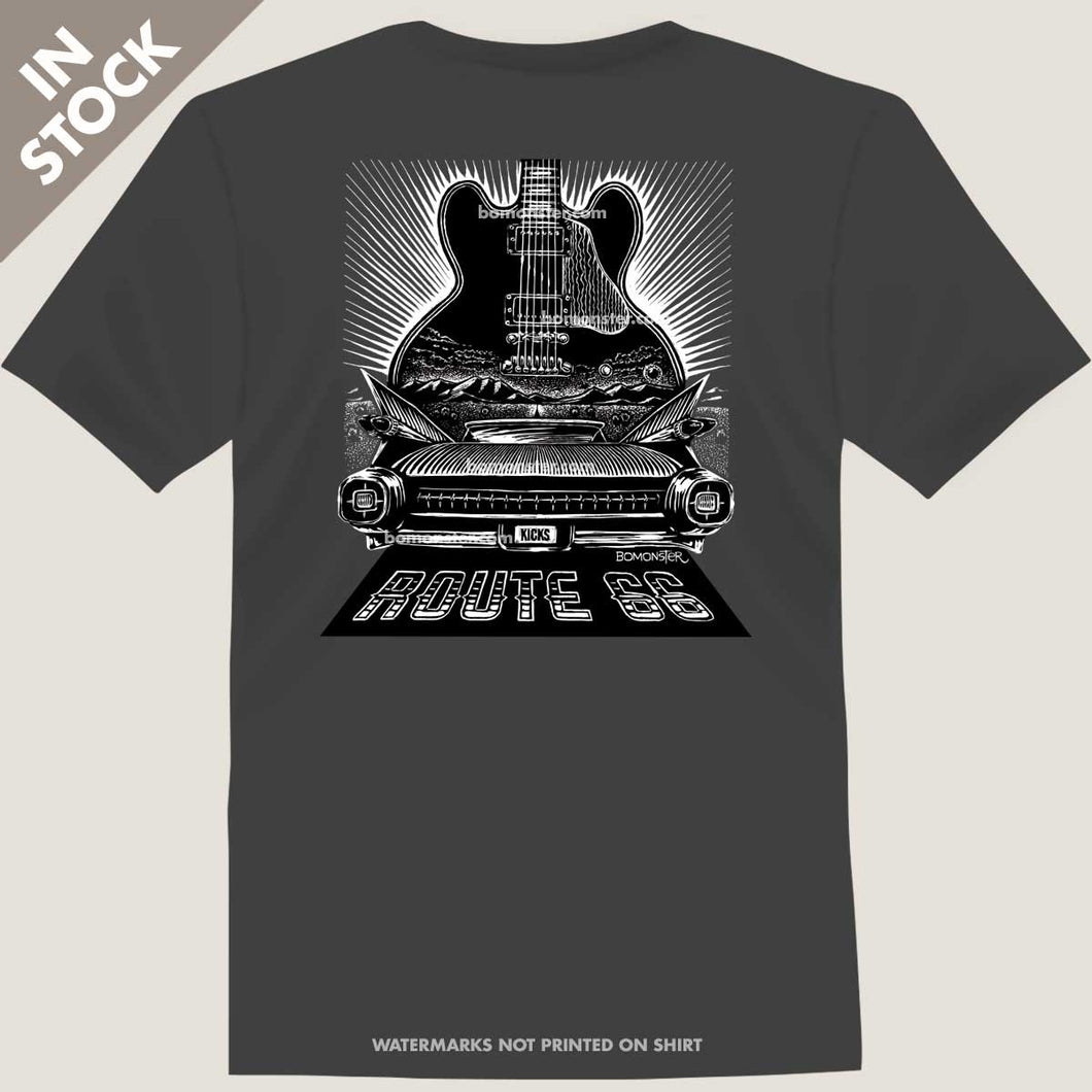 route 66 cadillac blues guitar tee by bomonster