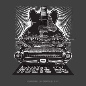 BB King's blues guitar Lucille and a 1959 Cadillac on Route 66 by BOMONSTER