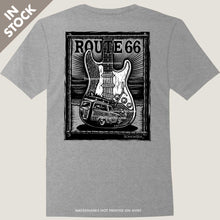 Load image into Gallery viewer, fender stratocaster guitar woody wagon waves tee by bomonster
