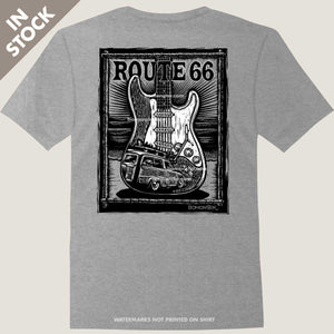fender stratocaster guitar woody wagon waves tee by bomonster