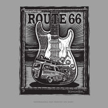 Load image into Gallery viewer, route 66 t-shirt with fender stratocaster guitar and ford woody in waves