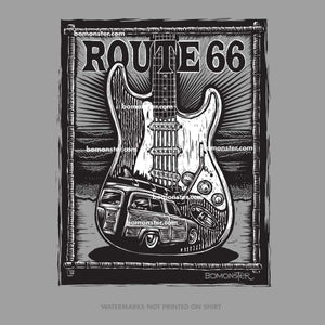 route 66 t-shirt with fender stratocaster guitar and ford woody in waves