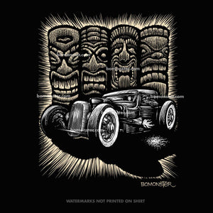 rat rod truck in front of four tikis