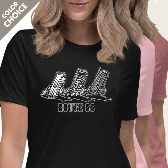 buried cadillacs along route 66 womens tee by bomonster
