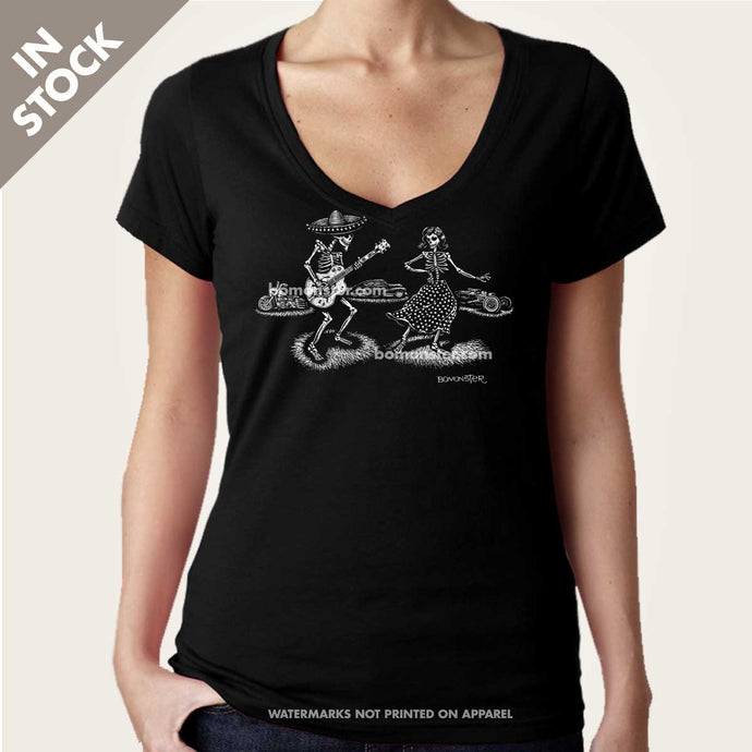 day of dead guitar skeletons on womens vee neck top by bomonster