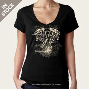 harley v-twin shovelhead on human heart women's vee neck top by bomonster