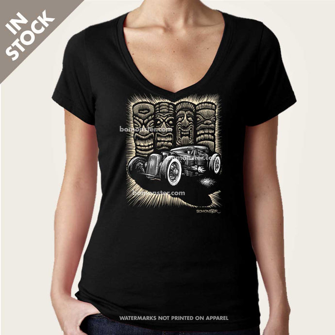 rat rod and tikis womens vee neck shirt by bomonster