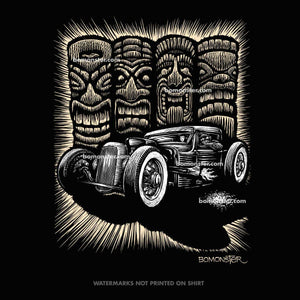 bomonster rat rod in front of four tiki heads