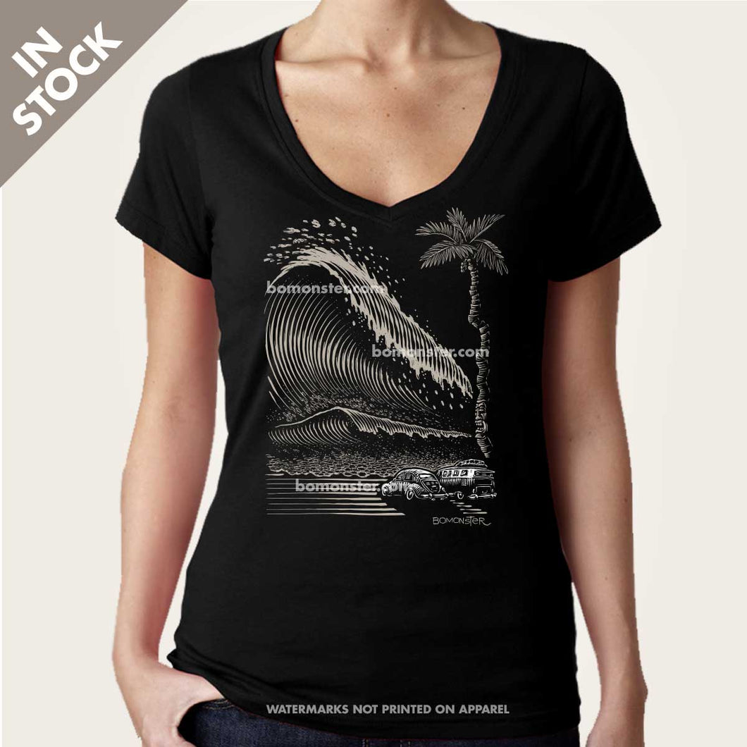 vw bus bug and tsunami wave womens vee neck by bomonster