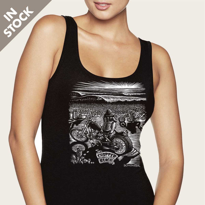girl on chopper motorcycle at beach waves womens tank top by bomonster