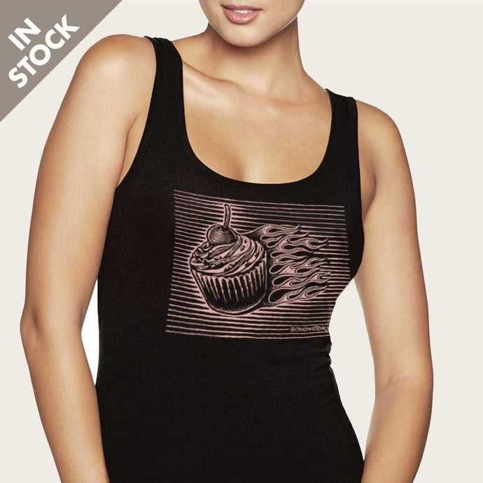 cupcake with flames on womens tank top by bomonster