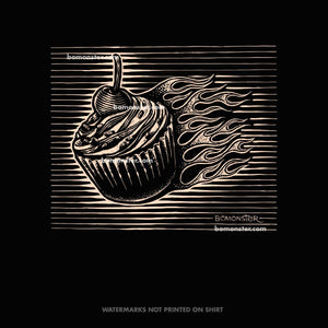 bomonster cupcake with hot rod flames