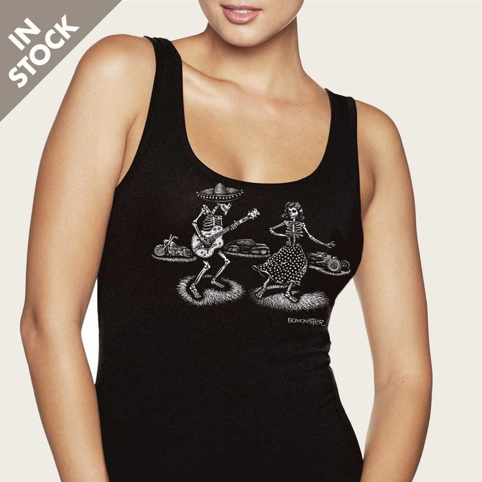 day of dead guitar skeletons on womens vee tank top by bomonster