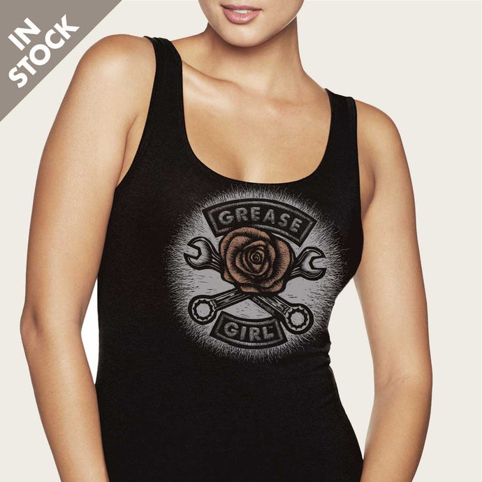 grease girl rose womens tank top by bomonster