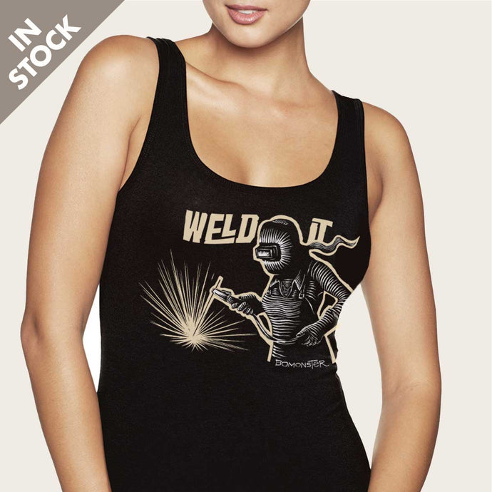 girl welding with vintage stick weldor womens tank top by bomonster