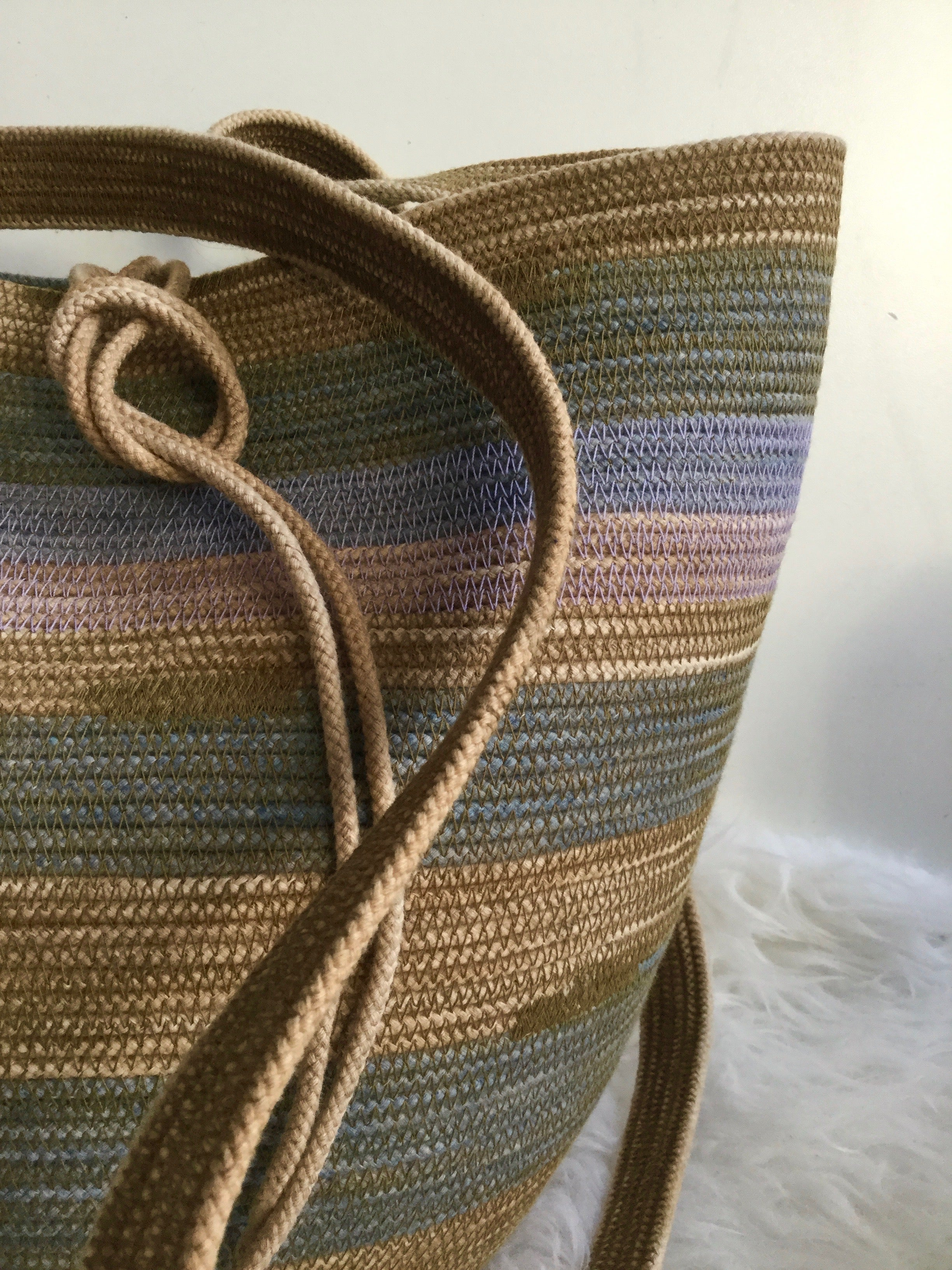 foraging basket made from cotton rope