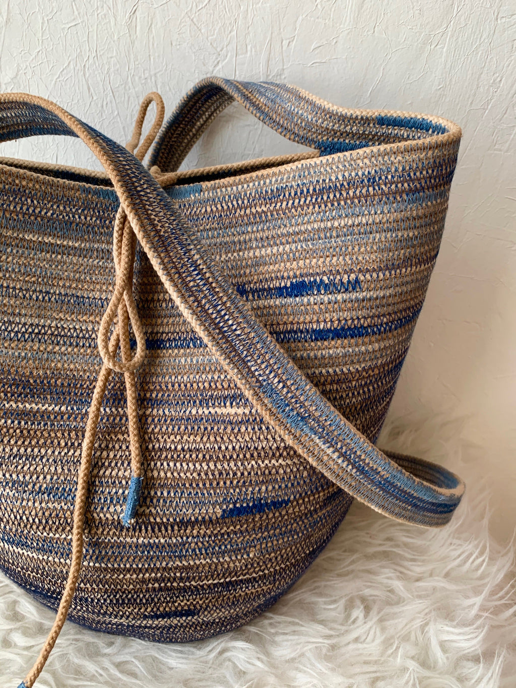 naturally dyed handmade rope basket