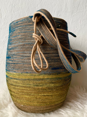 rope basket in teal and sea green