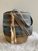 handmade, naturally dyed rope basket backpack