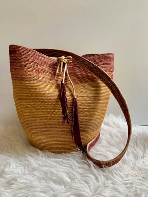 mustard and crimson rope basket backpack