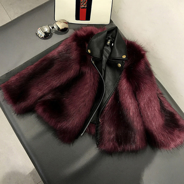 2T-10Y Girls High Quality Plush + Leather Coat