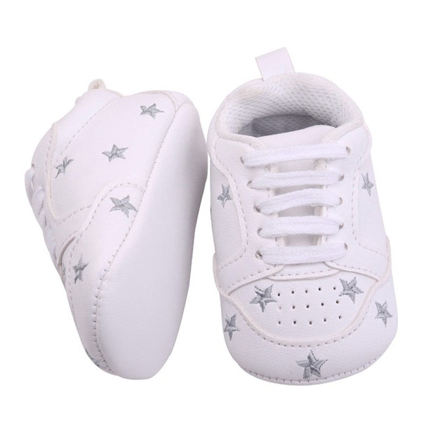 0-18m Boys And Girls Heart/Star Pattern Soft Sole Shoes