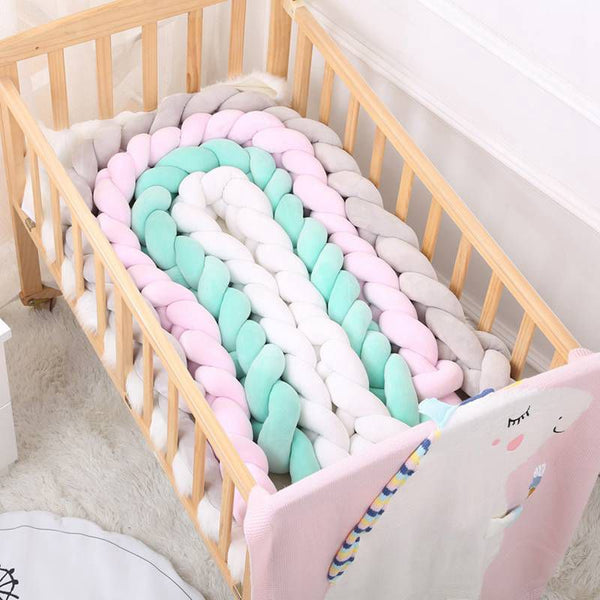 Pure Color Weaving Knot Crib Protector / Bed Bumper / Room Decor