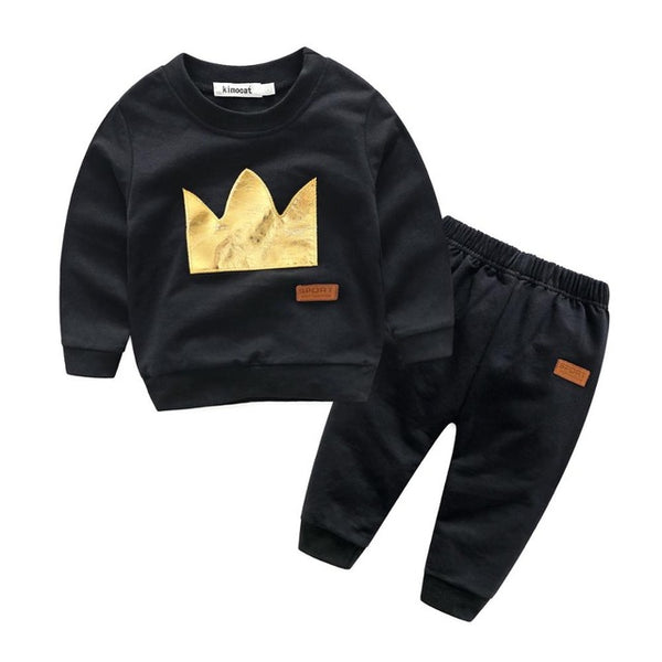 6-24m Boys Crown Sweatshirts + Casual Trousers