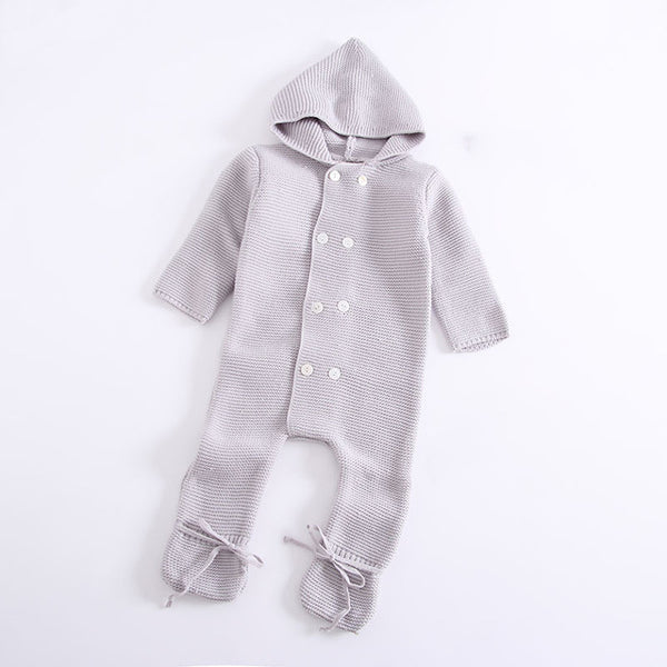 Infant Winter Knitted Sweater Jumpsuit  with OR without Fur Hood