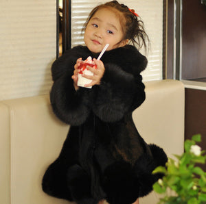 18M-8Y Girls Long Sleeve Winter Faux Fur Coat