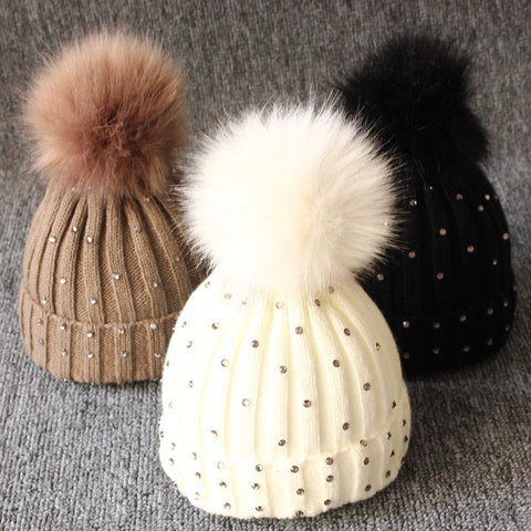 Newborn Kintted Pompon Beanies - Sequins