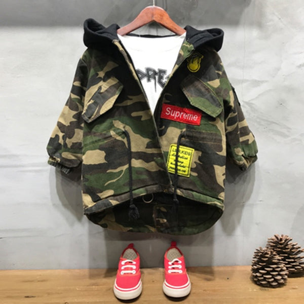 3T-10Y Boys Camouflage Hooded Jacket